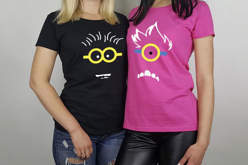Фото парных футболок для подруг с изображением миньонов