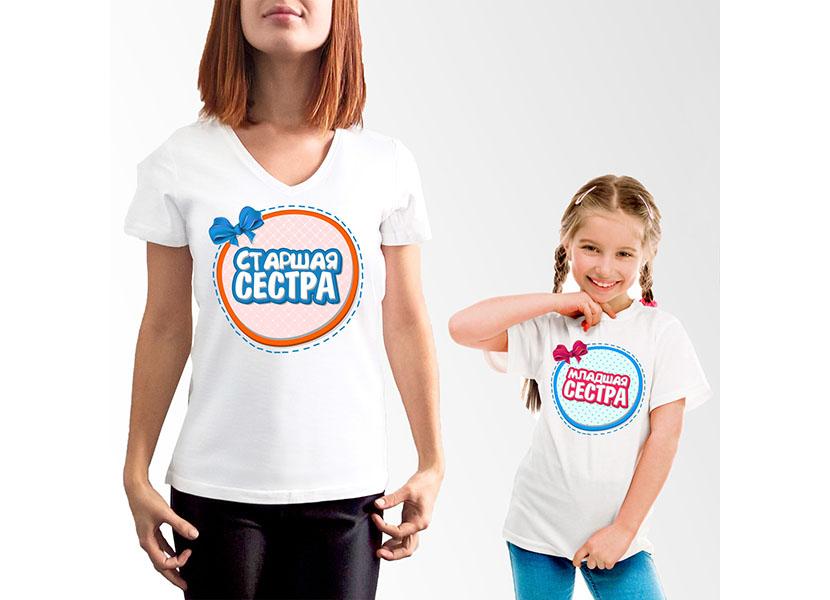Картинка с парными футболками для старшей и младшей сестры