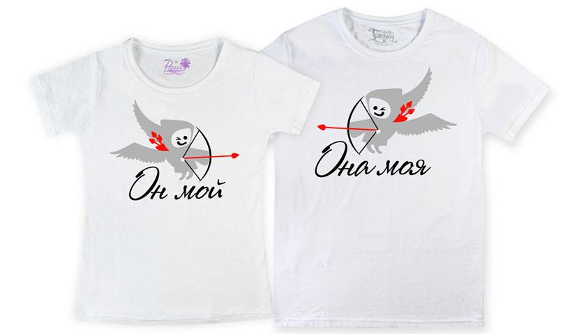 Фото парных футболок для влюбленных с купидончиками